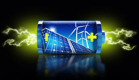Green energy. 3D rendering of green energy battery Royalty Free Stock Photos