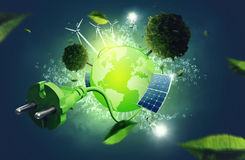 Green Energy. Earth globe illustration on green energy Stock Image