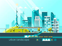 Green energy and eco friendly city. Modern architecture, buildings, hi-tech townhouses, green roofs, skyscrapers. Flat vector illustration. 3d style Royalty Free Stock Photography