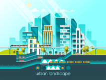 Green energy and eco friendly city. Modern architecture, buildings, hi-tech townhouses, green roofs, skyscrapers. Flat vector illustration. 3d style Stock Photo