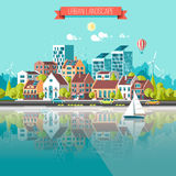 Green energy and eco friendly city. Modern architecture, buildings, skyscrapers. Flat vector illustration. 3d style Royalty Free Stock Photos