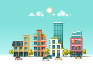 Green energy and eco friendly city. Modern architecture, buildings, skyscrapers. Flat vector illustration Stock Images