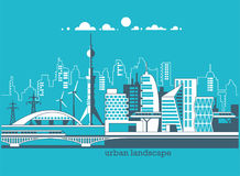 Green energy and eco friendly city. Modern architecture, buildings, skyscrapers. Flat vector illustration. 3d style Stock Photos