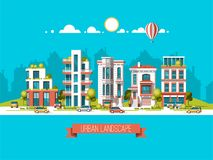 Green energy and eco friendly city. Modern architecture, buildings, skyscrapers. Flat vector illustration. 3d style. Green energy and eco friendly city. Modern royalty free illustration
