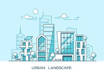 Green energy and eco friendly city. Modern architecture, buildings, skyscrapers. Flat vector illustration. 3d style. Royalty Free Stock Photos