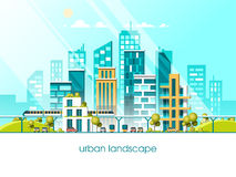 Green energy and eco friendly city. Modern architecture flat vector illustration 3d style. Green energy and eco friendly city. Modern architecture, buildings stock illustration