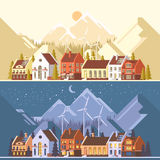 Green energy and eco friendly modern city. Traditional architecture landscape. Solar and wind power. Flat vector illustration. 3d style Royalty Free Stock Photo