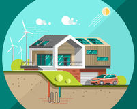 Green energy and eco friendly modern house. Solar, wind, geothermal power. Flat vector illustration Royalty Free Stock Image