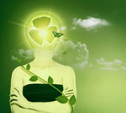 Green energy and eco protection concept. Royalty Free Stock Photography