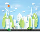 Green energy and Eco city paper art style. Stock Images