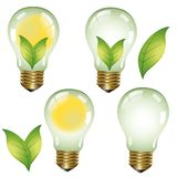 Green energy - Ecological concept - Eco collection Logo. Green energies. Light bulb with green elements Royalty Free Stock Images