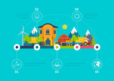 Green energy, ecology, clean planet, urban landscape, industrial factory buildings. Energy infographic. Green energy, ecology, eco, clean planet, urban royalty free illustration