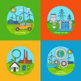 Green energy and ecology concept icons. Green energy concept and ecology design concept. Vector green energy icons Royalty Free Stock Photo