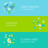 Green energy ecology eco clean planet flat web banners set. Flat green energy, ecology, eco, clean planet concept  icon banners template set. Globe with Stock Photography