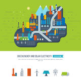 Green energy, ecology, eco, urban landscape and industrial factory buildings Royalty Free Stock Photo