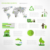 Green energy, ecology info graphics collection Royalty Free Stock Photos
