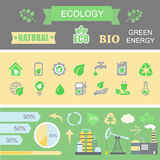 Green energy and ecology Infographic set  elements Stock Photo