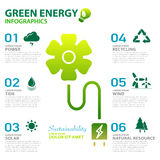 Green energy ecology power and sustainability concept infographi Royalty Free Stock Photo