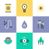 Green energy and electricity pictogram icons set. Flat line icons of green energy efficiency development, effective electricity consumption, solar and oil source Royalty Free Stock Images