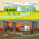 Green Energy And Environment Pollution Banners Stock Photo