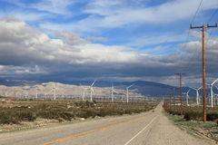 Green energy farm. Wind turbines on the field of wind farm at Palmdale, California Stock Photography