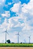Green energy feeld wind turbines Royalty Free Stock Photos