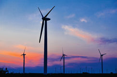 Green energy feeld wind turbines Stock Photo