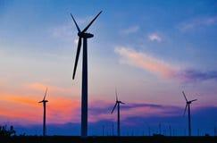 Green energy feeld wind turbines Stock Photo