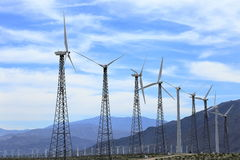 Green energy field. Wind farm producing Green Energy on California desert Stock Images
