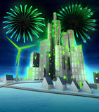 Green energy firework celebration above modern city Stock Photo