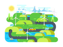 Green energy flat design. Ecology, and environment, water and natural resource. Flat vector illustration Royalty Free Stock Photography