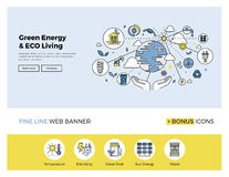 Green energy flat line banner Royalty Free Stock Image