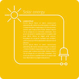 Illustration Solar energy. Solar energy, conceptual background. Modern vector illustration in a flat linear style on a yellow background with text and cord Stock Photos