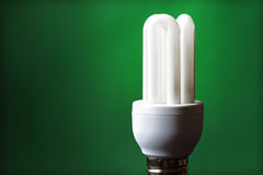 Green energy fluorescent light bulb royalty free stock photography