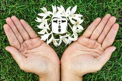 Green energy. Hands holding a socket with white flowers / green energy / save the world royalty free illustration