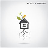 Green energy home concept. House and garden symbol. Vector illustration Stock Image