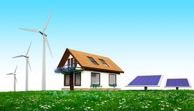 Green energy home royalty free stock photography