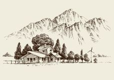 Green energy house exterior hand drawing. Green energy house exterior over mountains background hand drawing royalty free illustration