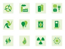 Green Energy Icon Set. Depicting energy and energy use Stock Image