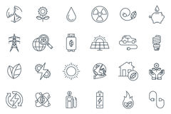 Green energy icon set. Suitable for info graphics, websites and print media. Black and white flat line icons Stock Photography