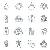 Green energy icon set Royalty Free Stock Photography