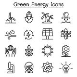Green energy icon set in thin line style Royalty Free Stock Photo