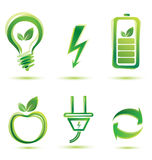 Green energy icons. Eco concept Stock Illustration