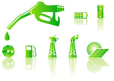 Green energy icons. Abstract  illustration of green energy symbols Stock Photo