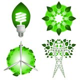 Green energy icons. Set of four vector green energy and power icons Stock Photos