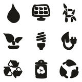 Green Energy Icons Freehand Fill. This image is a illustration and can be scaled to any size without loss of resolution Royalty Free Stock Photo