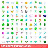 100 green energy icons set, cartoon style Stock Photos