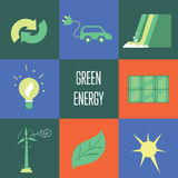 Green energy, icons set. Eco concept Royalty Free Stock Images