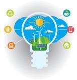 Green energy infographic light bulb. Stock Photography