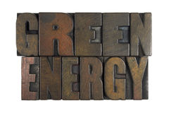 Green Energy. Isolated on white written in vintage letterpress type royalty free stock image